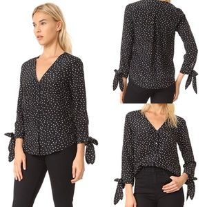Madewell star scatter tie sleeves silk button down